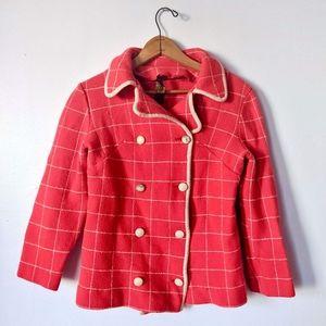 VNTG 60s Parisian Red Plaid Collared Blazer Jacket